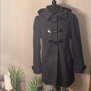 Guess women's grey black pea coat